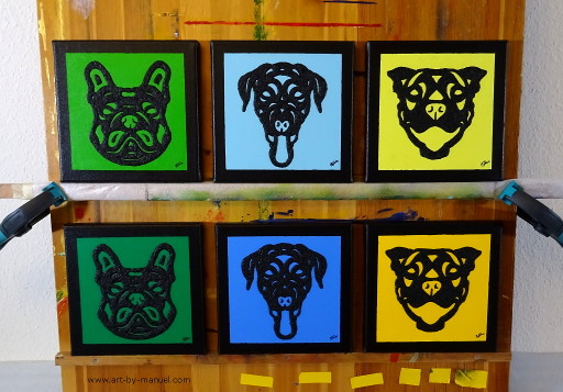 Six little, abstract dog paintings by Manuel Süess