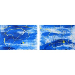 Painting No. 43 Beach (2009) | Abstract Painting | 15x43cm | Acrylics on wood | ART by MANUEL SÜESS