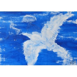 Painting No. 50 fly to the sky II (2009) | Abstract Painting | 30x42cm | Acrylics on wood | Manuello | Art by Manuel Süess
