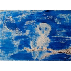 Painting No. 53 Babykauz (2009) | Abstract Painting | 30x42cm | Acrylics on wood | Manuello | Art by Manuel Süess