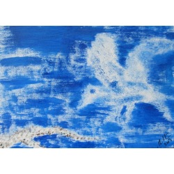 Painting No. 56 Anflug (2009) | Abstract Painting | 30x42cm | Acrylics on wood | Manuello | Art by Manuel Süess