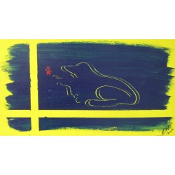 Painting No. 78 hungriger Frosch (2009) | Abstract Painting | 25x45cm | Acrylics on wood | ART by MANUEL SÜESS