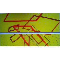 Painting No. 221 Stechmücke (2009) | Abstract Painting | 60x104cm | Acrylics on wood | Manuello | Art by Manuel Süess