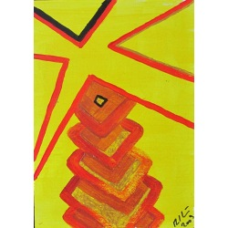 Painting No. 222 Palme (2009) | Abstract Painting | 30x21cm | Acrylics on wood | ART by MANUEL SÜESS