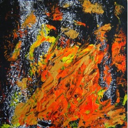Painting No. 335 inneres Feuer (2011) | Abstract Painting | 55x55cm | Acrylics on wood | ART by MANUEL SÜESS