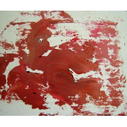 Painting No. 339 reklamier! (2011) | Abstract Painting | 45x55cm | Acrylics on bamboo | ART by MANUEL SÜESS
