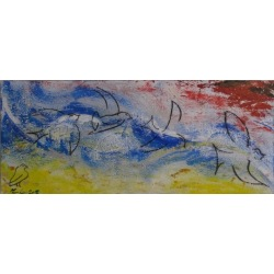 Painting No. 455 Der Flug - Start in die Wolken (2012) | Abstract Painting | 50x120cm | Acrylics on wood | Manuello | Art by Manuel Süess