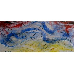 Painting No. 456 Der Flug - mit dem Wind (2012) | Abstract Painting | 50x120cm | Acrylics on wood | Manuello | Art by Manuel Süess