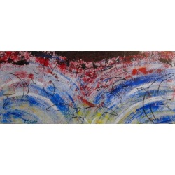 Painting No. 457 Der Flug - Angriff (2012) | Abstract Painting | 50x120cm | Acrylics on wood | ART by MANUEL SÜESS