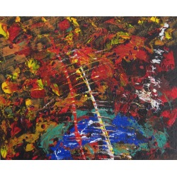 Painting No. 470 Das Haus am See (2012) | Abstract Painting | 45x55cm | Acrylics on wood | ART by MANUEL SÜESS