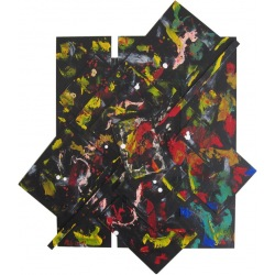 Painting No. 471 Mensch = Roboter? (2012) | Abstract Painting | 98x86cm | Acrylics on wood | Manuello | Art by Manuel Süess