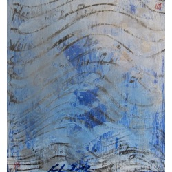 Painting No. 480 Meer der Ruhe (2012) | Abstract Painting | 43x40cm | Acrylics on spruce | Manuello | Art by Manuel Süess