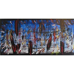 Painting No. 614 Durch die Zeit jonglieren (2013) | Abstract Painting | 50x100cm | Acrylics on canvas | ART by MANUEL SÜESS