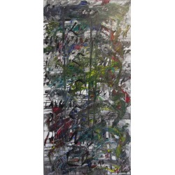 Painting No. 627 Bücherstapel (2013) | Abstract Painting | 100x50cm | Acrylics on canvas | Manuello | Art by Manuel Süess