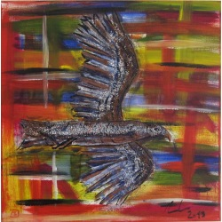 Painting No. 639 fliegender Falke (2013) | Abstract Painting | 50x50cm | Acrylics on canvas | Manuello | Art by Manuel Süess