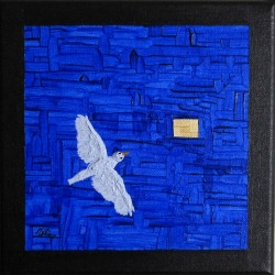 Painting No. 755 Little Bird Painting I.4 (2016) | 20x20cm | Acrylics on canvas | ART by MANUEL SÜESS