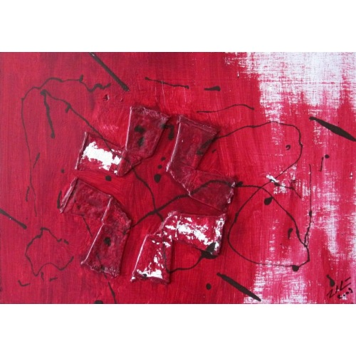 Painting No. 36 kUnst (2009) | Abstract Painting | 30x42cm | Acrylics on wood | Manuello | Art by Manuel Süess