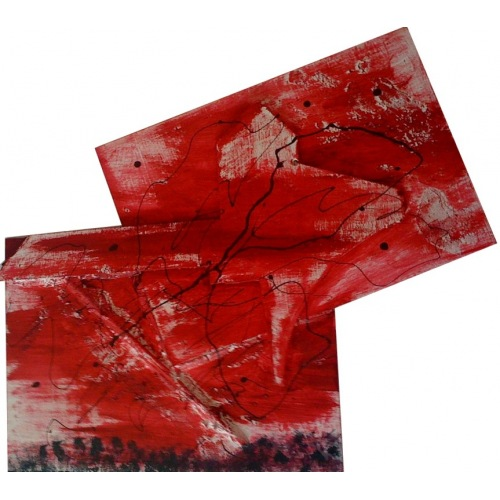Painting No. 40 Baustelle II (2009) | Abstract Painting | 55x60cm | Acrylics on wood | Manuello | Art by Manuel Süess