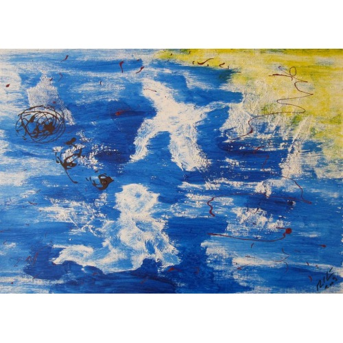 Painting No. 51 ?Zukunft (2009) | Abstract Painting | 42x60cm | Acrylics on wood | Manuello | Art by Manuel Süess