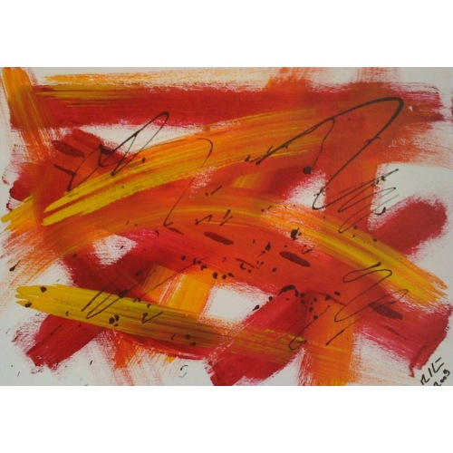 Painting No. 68 zerrissen II (2009) | Abstract Painting | 30x42cm | Acrylics on wood | ART by MANUEL SÜESS