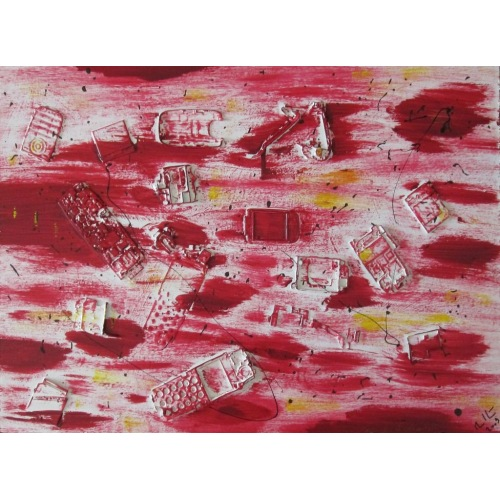 Painting No. 70 a study about modern trash (2009) | Abstract Painting | 42x60cm | Acrylics on wood | Manuello | Art by Manuel Süess