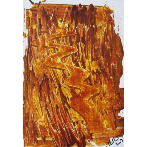Painting No. 182 Weg durchs Feuer (2009) | Abstract Painting | 30x21cm | Acrylics on wood | ART by MANUEL SÜESS