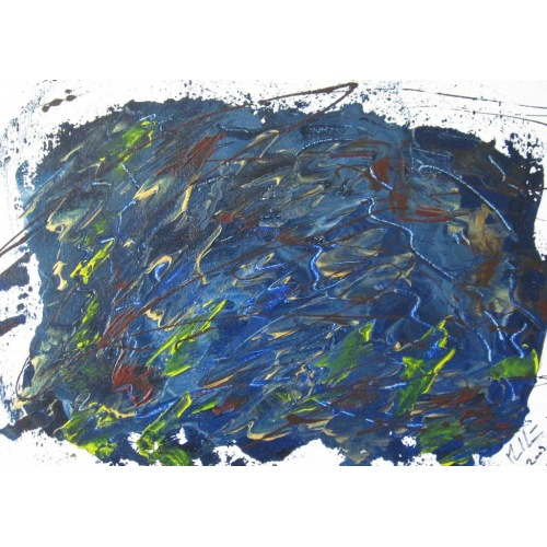Painting No. 187 Held unter Wasser (2009) | Abstract Painting | 30x42cm | Acrylics on wood | ART by MANUEL SÜESS