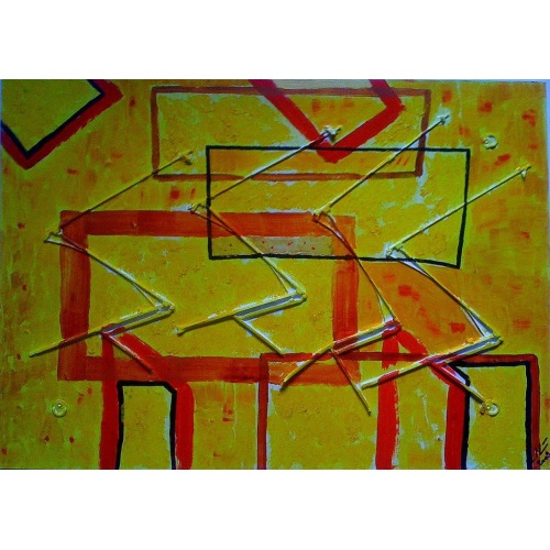 Painting No. 223 Storchparade (2009) | Abstract Painting | 50x70cm | Acrylics on wood | ART by MANUEL SÜESS