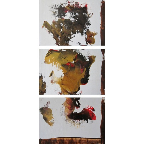 Painting No. 302 inneres Teufelchen (2010) | Abstract Painting | 65x30cm | Acrylics on wood | Manuello | Art by Manuel Süess