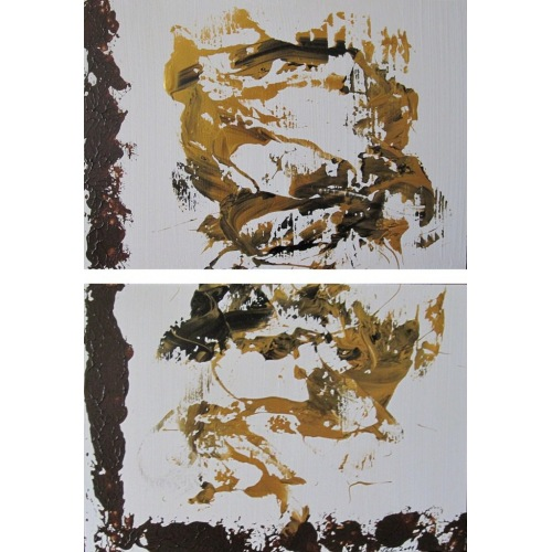 Painting No. 328 Welt-neugierieges Hündchen (2011) | Abstract Painting | 62x42cm | Acrylics on wood | Manuello | Art by Manuel Süess
