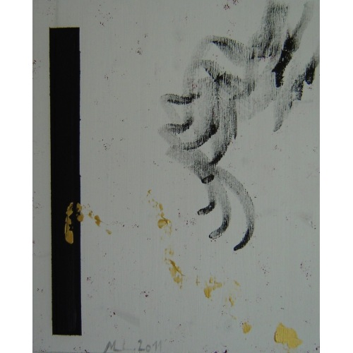 Painting No. 415 Die Hand (2011) | Abstract Painting | 55x45cm | Acrylics on spruce | Manuello | Art by Manuel Süess