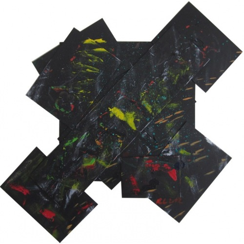 Painting No. 473 Hebelkraft (2012) | Abstract Painting | 86x90cm | Acrylics on wood | Manuello | Art by Manuel Süess