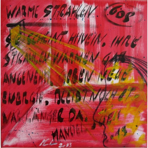 Painting No. 608 Warme Strahlen (2013)   Abstract Painting   50x50cm   Acrylics on canvas   Manuello   Art by Manuel Süess