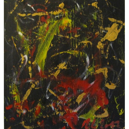 Painting No. 578 Der Meister und das Pferd (2012) | Abstract Painting | 30x28cm | Acrylics on spruce | ART by MANUEL SÜESS