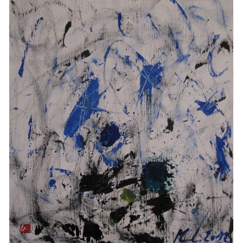 Painting No. 579 Eisige Winde (2012) | Abstract Painting | 43x40cm | Acrylics on spruce | Manuello | Art by Manuel Süess