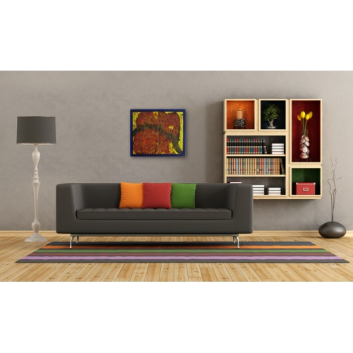 Preview: Painting No. 644 Oranges Feuer (2013) in a living room