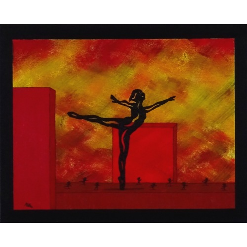 Painting No. 789 Ballet Workout on a Roof in Red Town (2016) | 40x50cm | Acrylics, modelling paste on canvas | ART by MANUEL SÜESS
