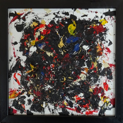 Painting No. 838 Splash (2019) | 22x22cm | Acrylics, modelling paste on canvas | ART by MANUEL SÜESS